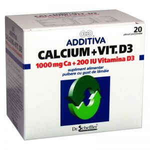 ADDITIVA - CALCIU 1000 MG + VITAMINA D3 X 20 PL